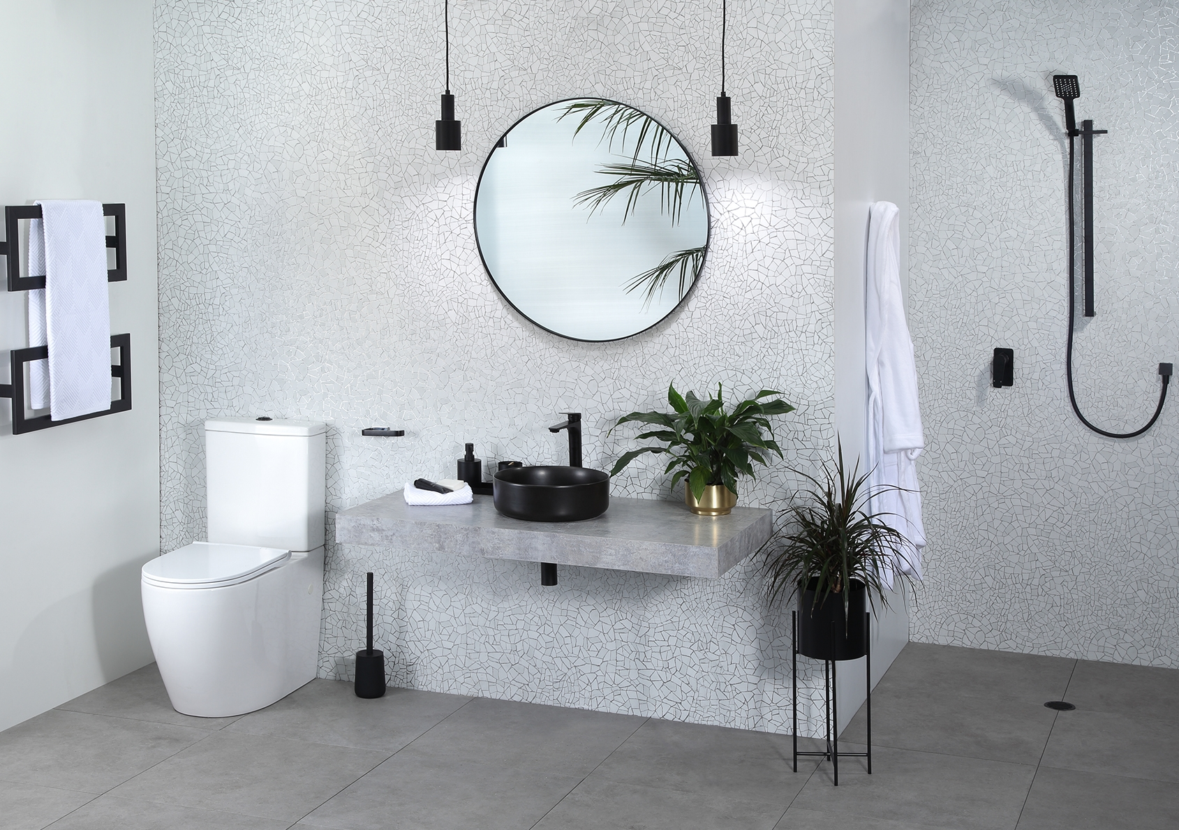 The smooth look of black and white bought to life with a natural mosaic  background