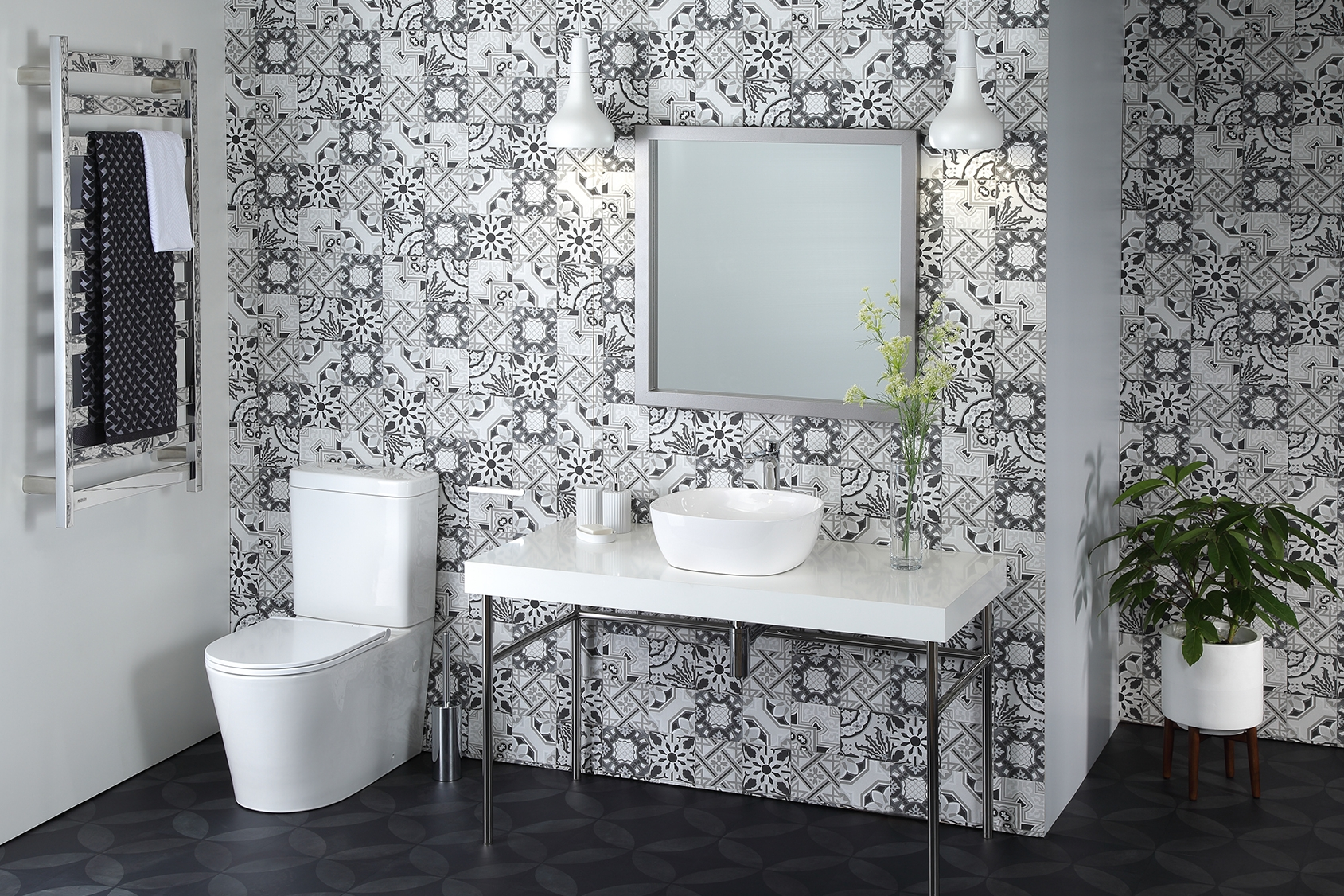 Elegant lineal lines feature in this crisp monochromatic  bathroom